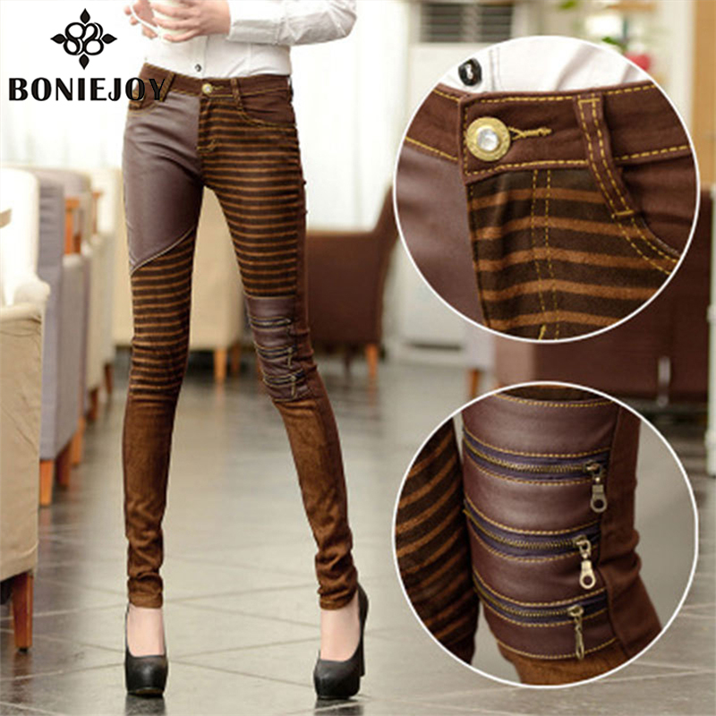 High Waist Jeans For Women PU Leather Pants Autumn Elastic Jean With Leather Pencil Pants Trousers Skinny Jeans Plus Size JeansОдежда и ак�е��уары<br><br><br>Aliexpress