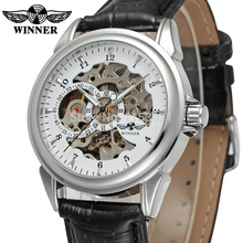 WRG8022M3S5  Latest Winner  Automatic skeleton men  with gift box dress watch black leather strap factory company free shipping