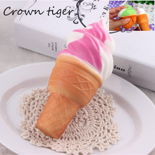 10cm soft Jumbo Ice Cream Cone Squishy Toy Slow Rising kawaii Cell Phone Straps Bread Antistress Scented Key Pendant Charms Kids(China)