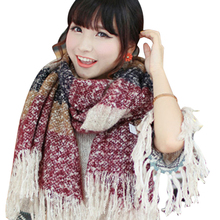New 2016 Women Winter Mohair Scarf Long Size Warm Fashion Scarves & Wraps For Lady Casual Patchwork Accessories