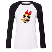 Cotton Women T-shirt Cartoon Cute The Powerpuff Girls Blossom and Bubbles Pattern Raglan Long Sleeve Girl T shirt Lady Tee Tops
