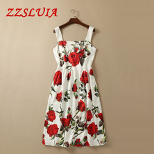 S-XXL Red rose flower print designer square collar spaghetti strap slim one piece dresses 2017 new nice women's clothing 533150