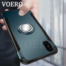 VOERO Luxury Shockproof Case For iPhone X 7 Plus Case Metal Ring Stent Function Phone Cover For iPhone 7 6 6s Plus Protect Cases(China)