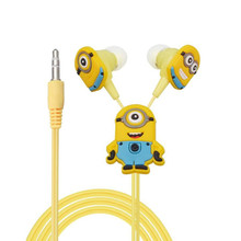 Despicable Me Minions Cartoon In-ear Wired 3.5 mm Earphone for MP3 MP4 Mobile Phone Earphones With Earplug Cover(China)