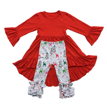 New Christmas Girls Clothes Kids Boutique Clothing Outfit Red Ruffle Sleeve Dress Icing Ruffle Reindeer Pants Set(China)