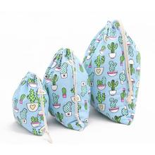 1pcs Printing Cactus Storage Bag Drawstring Tote Backpack Sunglasses Jewelry Underwear Shoes Toys Storage Organizer Container