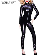 Buy Sexy Latex Catsuit Long Sleeve Jumpsuit Plus Size Vinyl Leather Bodycon Stretchy Romper New Clubwear Leotard Black Bodysuit S461