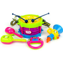 5pcs/set Musical Instruments Toy Set Drum / Handbell / Trumpet / Sand Hammer/Drum Sticks Tambourin Kids Education Toy(China)