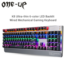 One-Up K8 Blue Switch Mechanical Keyboard LED Backlit 104 Keys USB Wired Computer Keyboard Full N-Key Gaming Keyboard Gamer