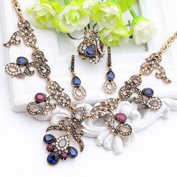 Vintage Turkish Jewelry Sets For Women Retro Gold Color Earring Ring Bracelet Necklace Flower Resin Rhinestone Turkey Jewelry
