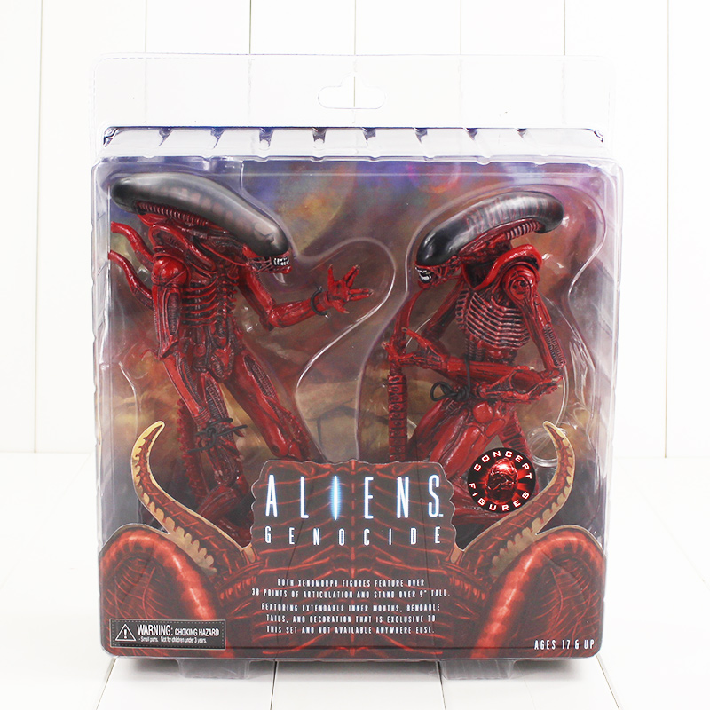 21.5cm ALIENS GENOCIDE Figure Model Toy NECA Big Chap and Dog Aline PVC Action movie Figure Model Toy for Man gift pack in box<br>