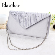 Blascher Free Shipping  Hot Sale Stylish Women Evening Bag Diamond Party Hand Bag Wedding Bride Purse Cluth 3 Colors HBF26