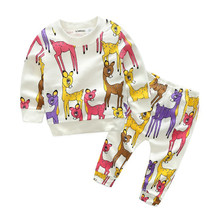 MAGGIE'S WALKER Kids Clothing Sets Baby Boys Cartoon Deer Printing Round Collar Pullover Furniture Sets Children 2pcs Pant Suits(China)