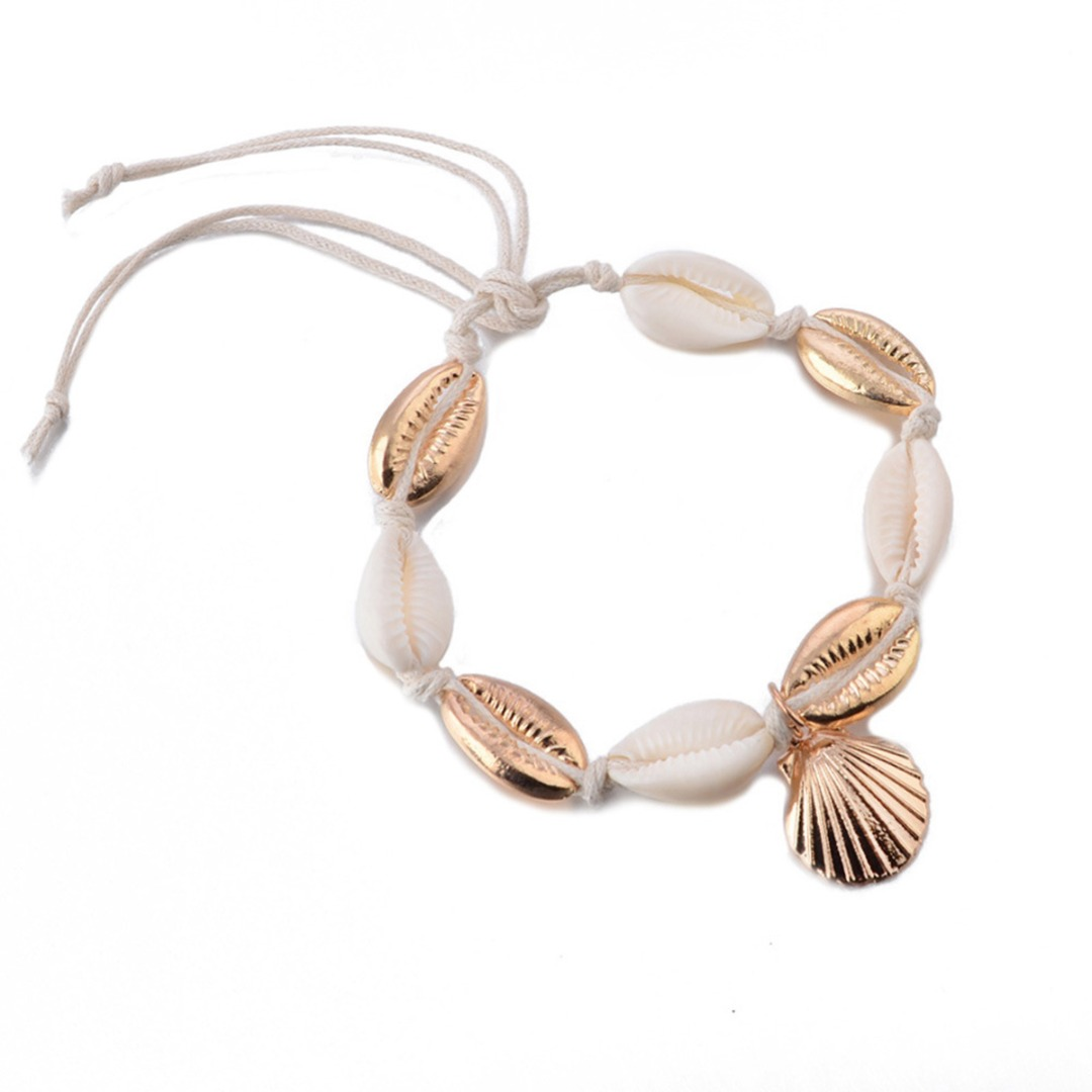 Boho Women Beach Natural Sea Shell Rope Chain Anklet Summer Jewelry Shellhard Ocean Conch Barefoot Leg Chain Foot Jewellery