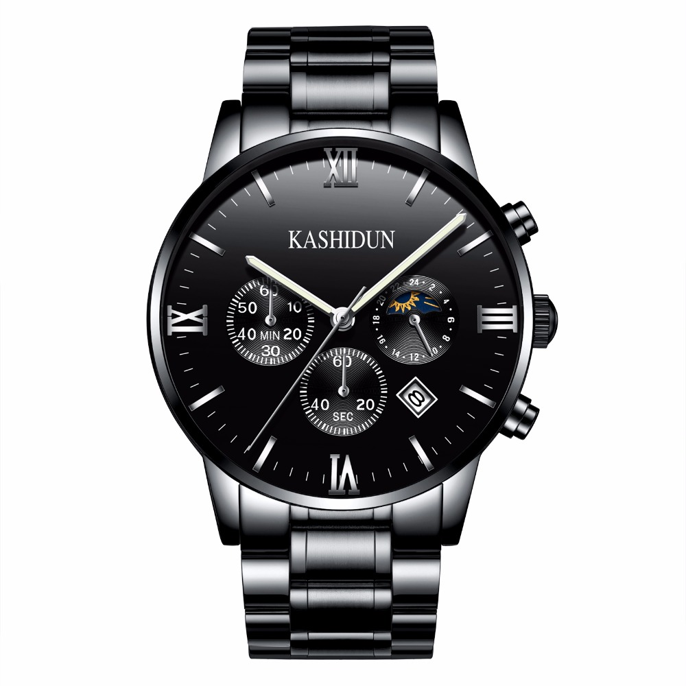 KASHIDUN. Mens Watches Top Brand Luxury Military Luminous Casual Wristwatch Chronograph Steel Quartz Watch relogio masculino<br>