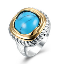 Vintage Turquoise Stone Jewelry Ring for Women Silver&Gold Color Big Ring 2017 New Arrival