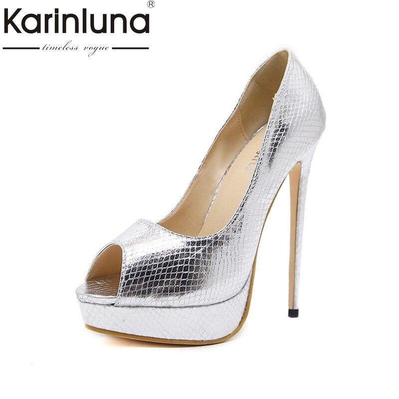 Karinluna 2018 Brand Shoes Women Sex Thin High Heels Platform Woman Shoes Peep Toe Slip On Woman Pumps Size 35-40<br>