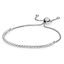 Authentic 925 Sterling Silver Bracelet Classic Tennis Sparkling Strand Adjust Bracelet Bangle Fit Women Bead Charm DIY Jewelry