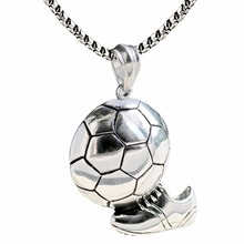Sporty Football and Shoes Stainless Steel Charm Pendant Necklace Titanium Steel Soccer Street Punk Necklace For Men(China)