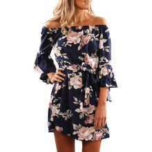 Women Summer 2017 Beach Floral Boho Dress Loose Printing Sexy Off the Shoulder Flare Sleeve Empire Flash Neck Mini Dress(China)