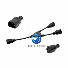 High Quality 1ft short Power cable, Power Adapter, Y-Splitter, C14 to 5-15R x 2 cable,1 pcs
