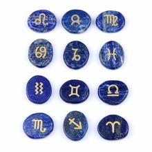 yaye 12pcs Zodiac Stones Set Natural Lapis Lazuli Symbols Handmade Polished Gemstones Craft Feng Shui Decoration with Velvet Bag(China)