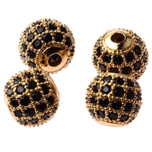 Wholesale Zircon Pave Disco Micro Round Ball Rhinestones Bracelet Connector Charm High Quality Beads DIY Jewelry Making Bracelet