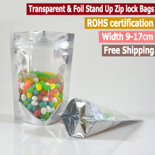 100 pc Small Size Transparent And Foil Stand Up Zip lock Bag Clear Front Zip lock Pouch Food Storage Width From 9cm to 17cm