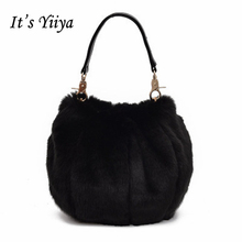 It's YiiYa Hot 9 Colors Women HandBag Fashion Casual Chains Panelled Faux Fur Lady Style Quality Girls Messenger Bags SS978(China)