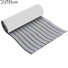 KiWarm Newest Light Gray and Black Marine Flooring Faux Teak EVA Foam Boat Decking Sheet Foam Floor Mat Art Decor 2400X600x6mm(China)