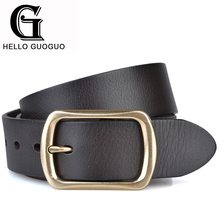 Hello guoguo Belts men Genuine leather Alloy Pin buckle Adjustable size Novelty Sample style Belt for jeans Cinto Cintura uomo(China)
