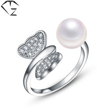 GZ 100% 925 Silver Butterfly Ring WaterFresh Pearl Zircon Adjustable Size S925 Sterling Solid Silver Rings for Women Jewelry(China)