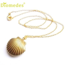Creative Necklace Women Seashell Locket Pendant Locket Brass Sea Shell Necklace Accessories Sexy Chain