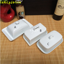 Ceramic Dessert Plate Tray Holder with Lid Porcelain Covered Butter Cheese Dish kitchen Tableware Fridge Storage White
