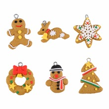 6Pcs Christmas Tree DIY Decor Durable Clay Pendants Hanging Ornament Party XMAS Holiday Home Gingerbread Man Decoration