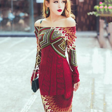Knitted dress 2017 autumn winter women red bohemia print long sleeve slim hip placketing knitting sweater long maxi dress B3949