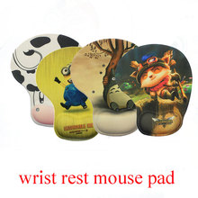 Cartoon mouse pad with wrist rest 235*190*3mm rubber & cloth computer mouse mat soft comfortable pad mouse