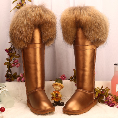 2016 Winter Boots /Fur Nature Leather Snow Boots High Quality Fashion Boots /Women Fur Snowboots Waterproof Size 40<br><br>Aliexpress