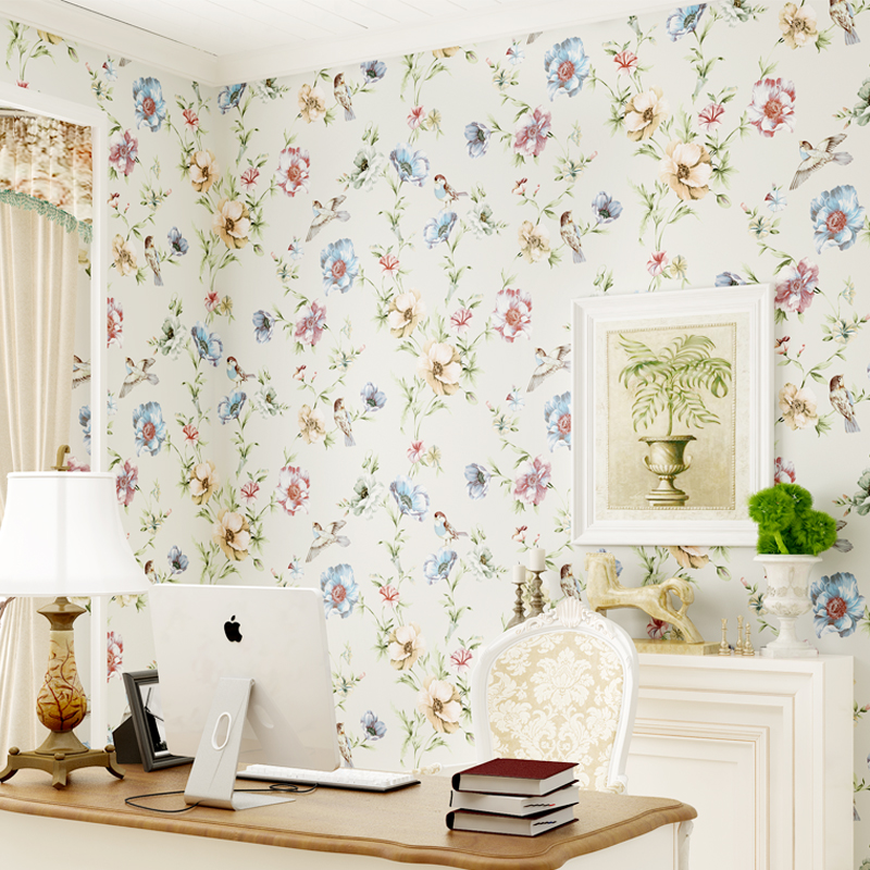 Modern Floral Paper Wallpapers Non-woven Rustic Wallpaper Roll Birds Wall Paper Flowers Bedroom Wallpaper Design Paper Contact <br>