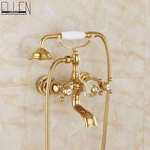 Luxury Crystal Handle Bathtub Faucets with Hand Shower Telephone Type Bath Shower Faucet