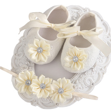 Soft Soled Girls baby Shoes Rhinestone Headband Set,Cute Toddler Boots,Sapato Bebe,Christening Baptism Shoes,baby girl shoes(China)