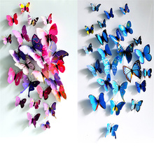 12pcs Hot Art Design Wall Sticker Decals Home Decor blue red yellow Room Decorations Wonderful 3D Butterfly wedding photography