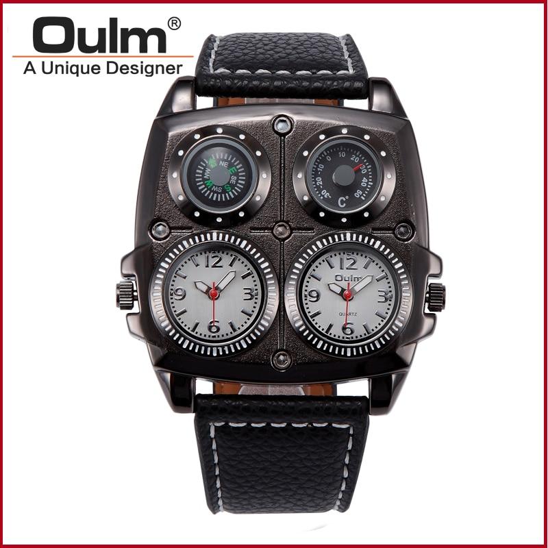New wristwatch Design Big Face wristwatch OULM Watches Men Compass&amp;Thermometer Function Dual Quartz Movement Watch<br><br>Aliexpress