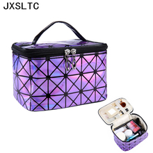 2017 High Quality Women's New Fashion Brand Purple PU Leather Cosmetic Bags Travel Organizer Necessarie Cosmetic Skin Care Box(China)
