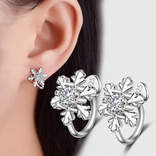Charm inlaid zircon snowflake clip earrings ear cuffs for non pierced ears pendientes brinco for girl's christmas gift(China)