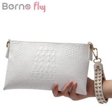 Berno fly White Envelope Evening Clutch Bag Crocodile Pattern Genuine Leather Messenger Women Bags Crossbody Purses and Handbag(China)