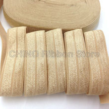 "10Y/lot Solid Gold Fold Over Elastic 5/8"" Gold FOE Elastic Ribbon for Hair Tie Headwear Hair Accessories Many Colors Available(China)"