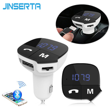 JINSERTA Car MP3 Audio Player Bluetooth FM Transmitter Wireless FM Modulator Car Kit HandsFree LCD Display USB Charger For Phone(China)