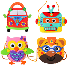 Colorful Assembly Toy Handbag Shoulder Bag EVA foam puzzles Cartoon DIYcrafts Hand-sewn Educational Toys For Child Sticker(China)