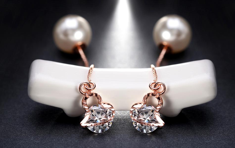 Effie Queen Fashion Cute Ear Wire Earrings Female Models Long Drop Crystal Imitation Pearl Jewelry Dangle Earrings Brincos DDE26 16